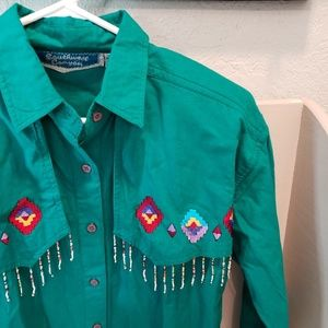 Vintage 80s Western Cowgirl Beaded Shirt sz Small